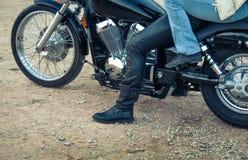 Couple bikers on motorbike Stock Photography