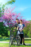 Couple of bikers in spring Royalty Free Stock Image