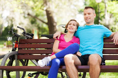 Couple with bikes Stock Image