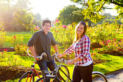 Couple with Bikes Stock Photos