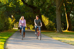 Couple with Bikes Stock Photography