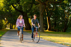 Couple with Bikes Royalty Free Stock Image