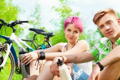 Couple with bikes Royalty Free Stock Photo