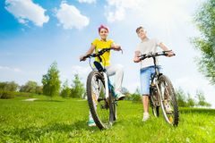 Couple on the bikes Royalty Free Stock Images