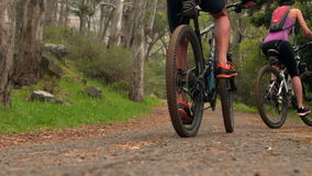 Couple biking through a forest. In the countryside stock video footage