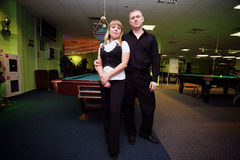 Couple in the billiard club Royalty Free Stock Photos