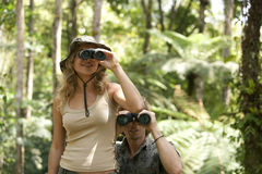 Couple with Binoculars Royalty Free Stock Image