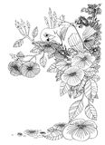 Couple bird cute acting of love art line design. Drawing pencil stroke black and white, Illustration has clipping paths Stock Photos