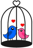 A couple of bird that love caged. Illustration Royalty Free Stock Photo