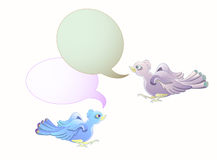 Couple birds flying with blank bubble text isolate Stock Photo