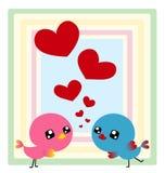 Couple birds with heart. Valentine card of cute couple bird with heart Stock Photos