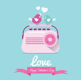 Couple birds listen love song from vintage radio. Royalty Free Stock Photo