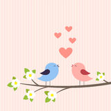 Couple of birds in love. Vector illustration Royalty Free Stock Photo