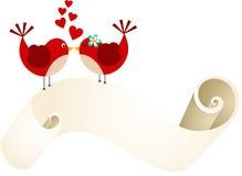 Couple birds with love parchment Stock Photos
