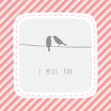 Couple of birds in love1. Couple of birds say I miss you royalty free illustration