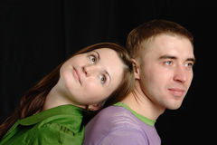 Couple on black background. Stock Photography