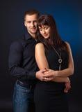 Couple on black background Royalty Free Stock Image