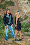 Couple black clothes Royalty Free Stock Images
