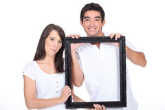 Couple with black frame Royalty Free Stock Photography