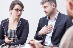 Couple blaming each other for marriage problems Royalty Free Stock Image