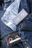 Audio Cassettes on Denim Royalty Free Stock Photos