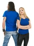 Couple with blank blue shirts Royalty Free Stock Image