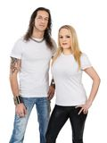 Couple with blank white shirts Royalty Free Stock Images