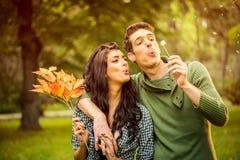 Couple Blowing Dandelion Stock Images