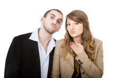 Couple blows kisses Stock Image