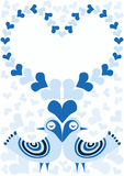 Valentines day blue birds with hearts frame. A couple of blue birds with eyes closed and a heart frame. Love valentine& x27;s day greeting card Royalty Free Stock Photos
