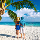 Couple in blue clothes on a beach at Maldives Royalty Free Stock Photo