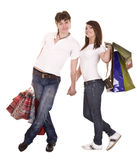 Couple in blue jeans shopping. Royalty Free Stock Photos