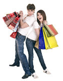 Couple in blue jeans shopping. royalty free stock photo