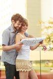 Couple with blueprint project keys outdoor Stock Photo