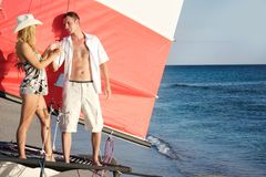 Couple on board of sea yacht Royalty Free Stock Photos