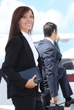Couple boarding anaircraft Stock Photography