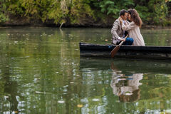 Couple in the boat Stock Photos