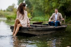 Couple in the boat Stock Image