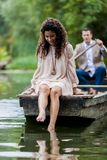 Couple in the boat Royalty Free Stock Image