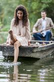 Couple in the boat Stock Photo