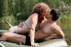 Couple in boat Stock Image