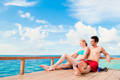 Couple  On Boat Stock Images