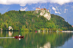 Couple in the boat on Bled lake Royalty Free Stock Photo