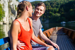 Couple on boat at Danube gorge Stock Photo