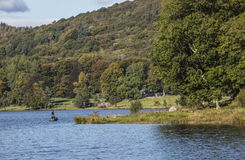 Couple in boat fishing in Esthwaite Water in the Lake District Royalty Free Stock Photo