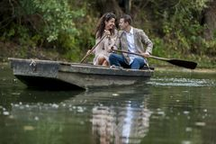 Couple in the boat Stock Photography