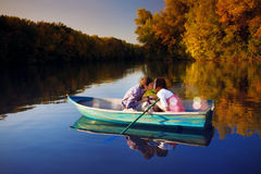Couple in a boat Royalty Free Stock Photography