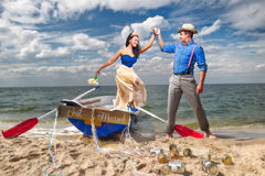 Couple in a boat outdoors Royalty Free Stock Images