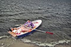 Couple in a boat outdoors Stock Photo