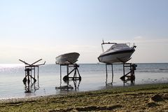 A couple of boats covered up and ready for winter. Turkey stock photo